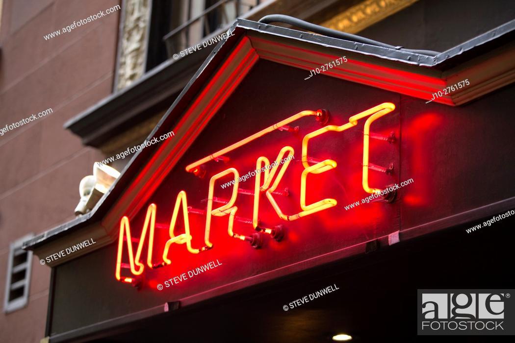 Stock Photo: Market restaurant, Broad St. , Boston, Massachusetts, USA.