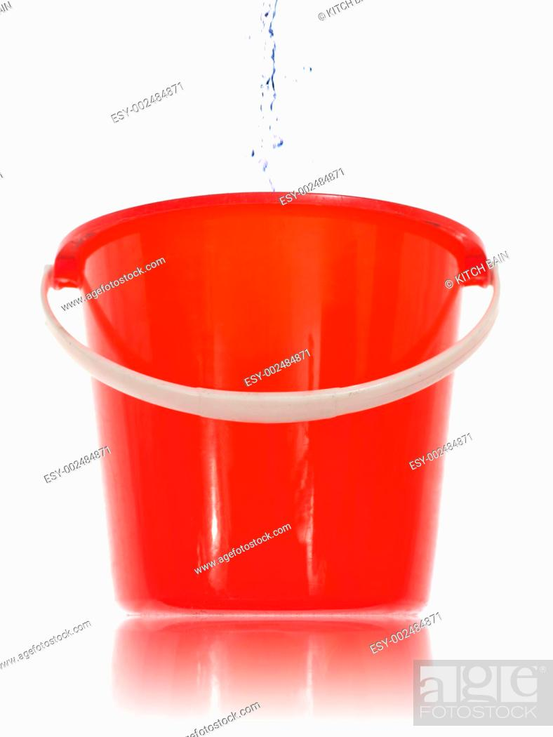 Stock Photo: A cleaning bucket isolated against a white background.