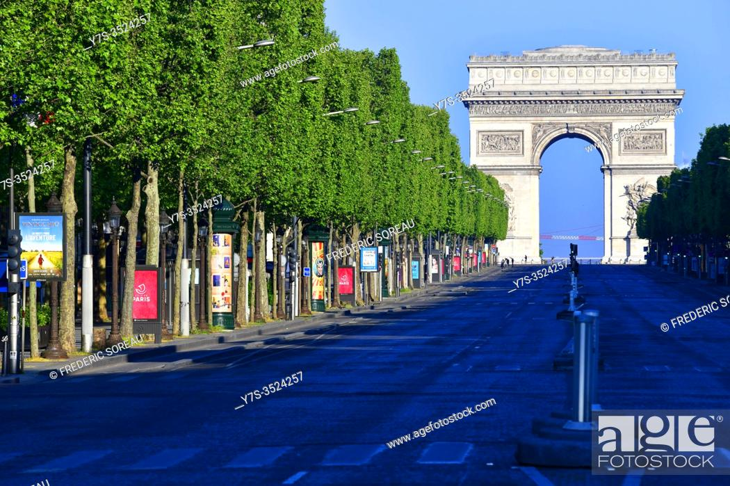 Stock Photo: The Champs-Elysees and the Arc de Triomphe during Covid-19 pandemic, Paris, France, Europe.