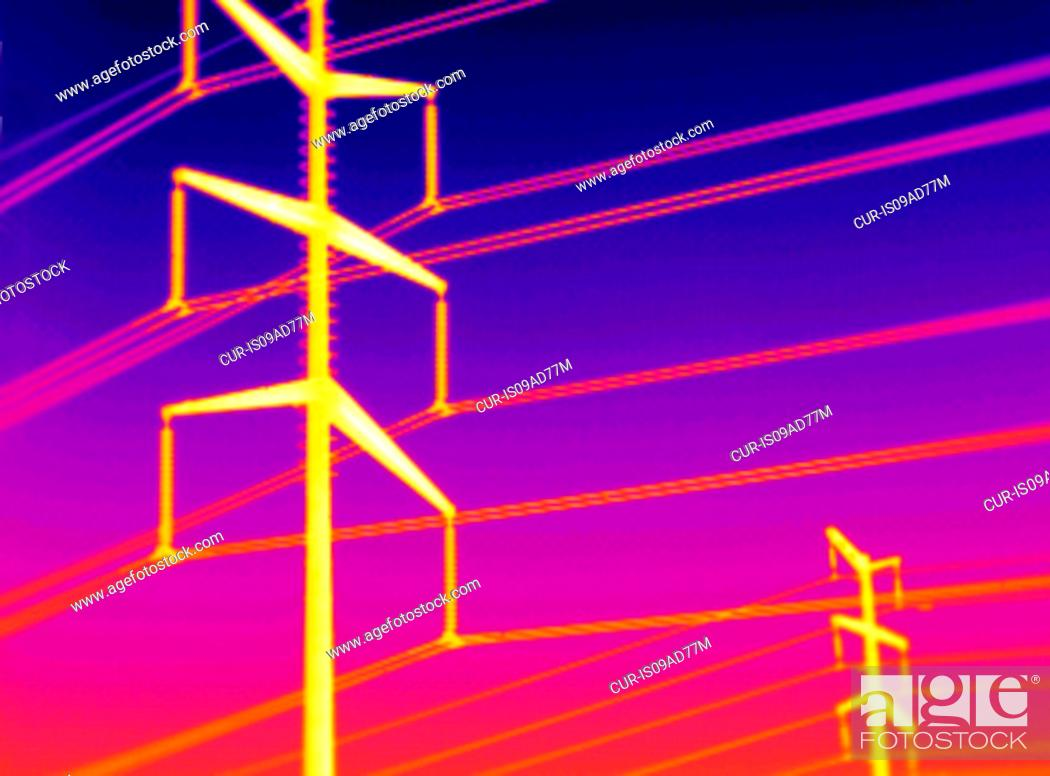 Stock Photo Thermogram Of Electricity Transmission Towers Image Acquired With A Specialized Camera That Uses Focal Plane Array Vanadium Oxide
