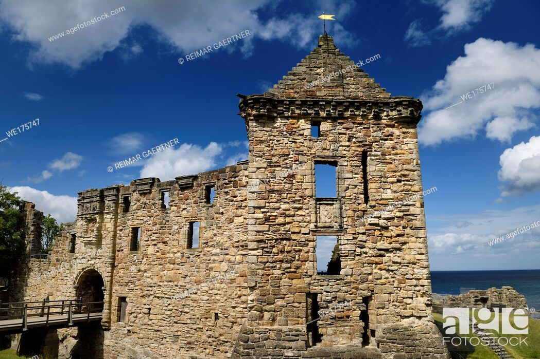Stock Photo: St Andrews Castle 13th Century south wall and square tower stone ruins exterier on the coast of the North Sea in Fife Scotland UK.