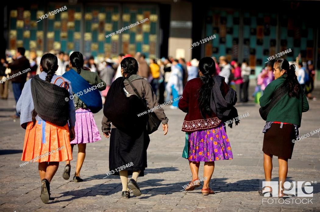 Stock Photo: Indigenous women arrive the Our Lady of Guadalupe Basilica in Mexico City, December 8, 2010  Hundreds of thousands of Mexican pilgrims converged on the Basilica.