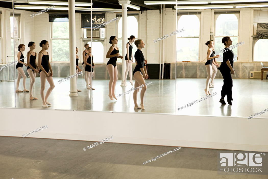 Stock Photo: Reflection of ballet class.