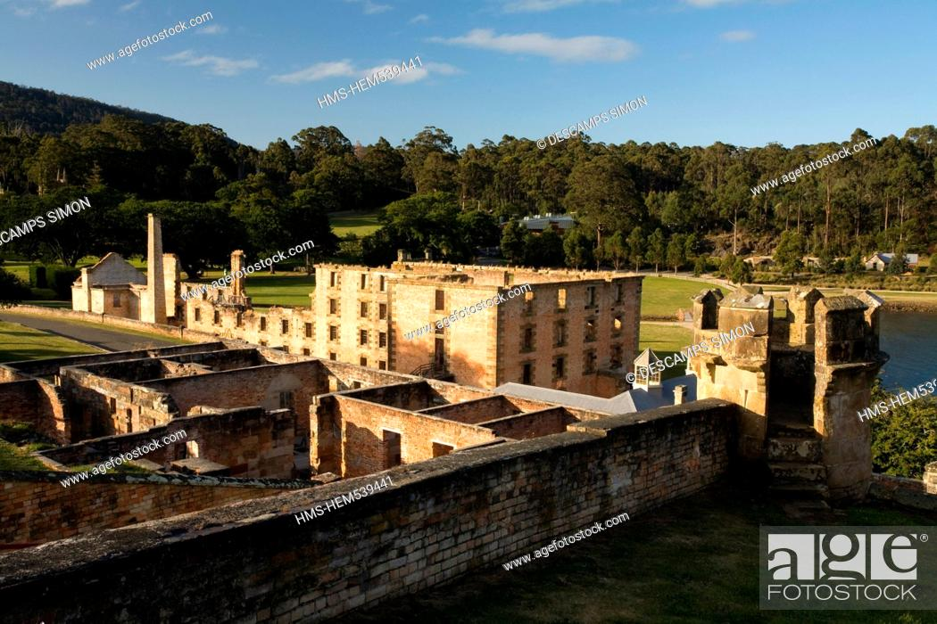 Stock Photo: Australia, Tasmania, Port Arthur, listed as World Heritage by UNESCO, main building of the former penal colony where the English convicts were kept.