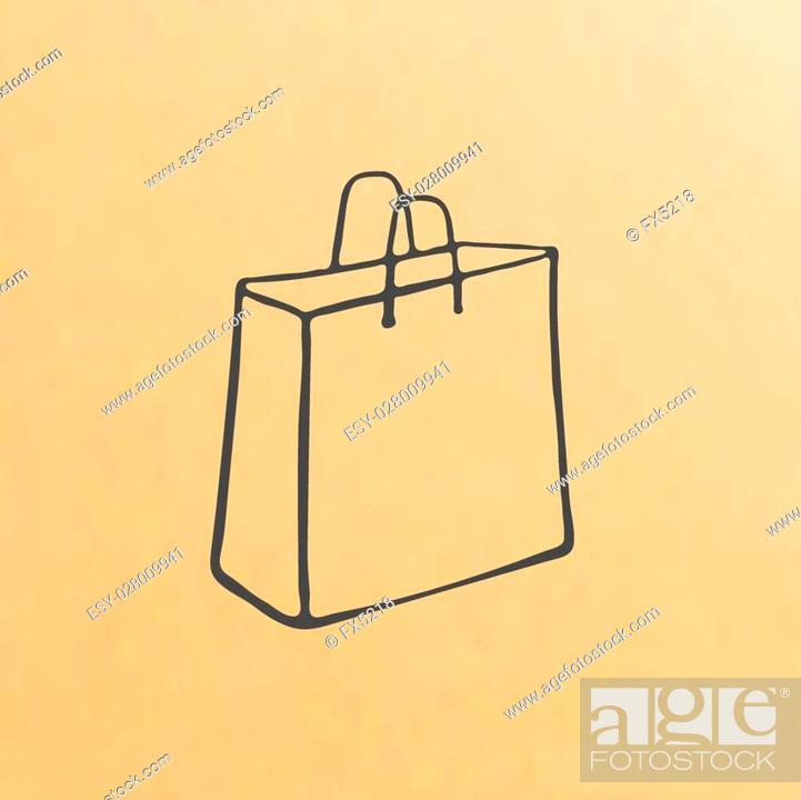 Stock Vector: image cartoon of three brown paper bags.