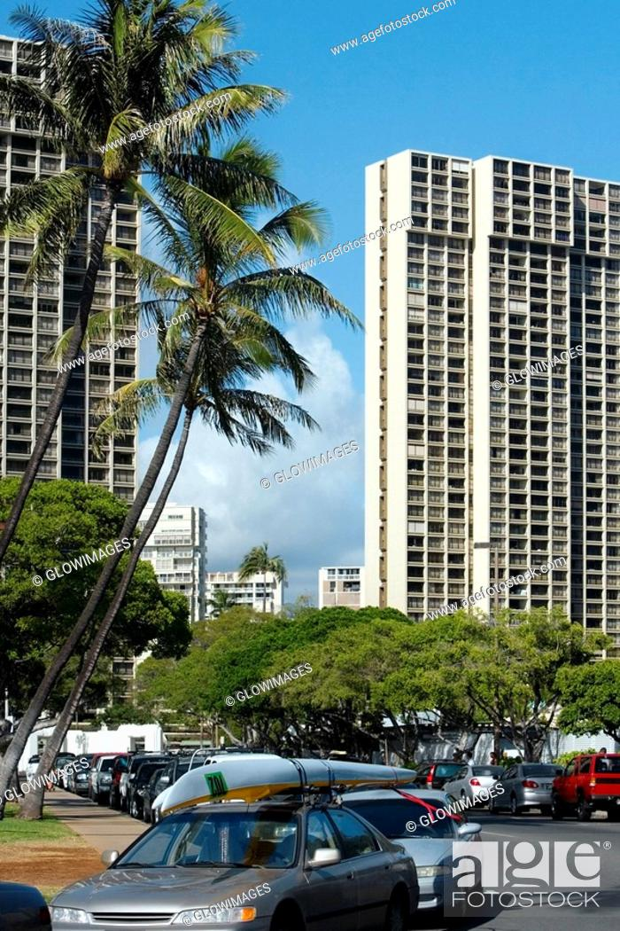 Stock Photo: Skyscrapers in a city, Honolulu, Oahu, Hawaii Islands, USA.