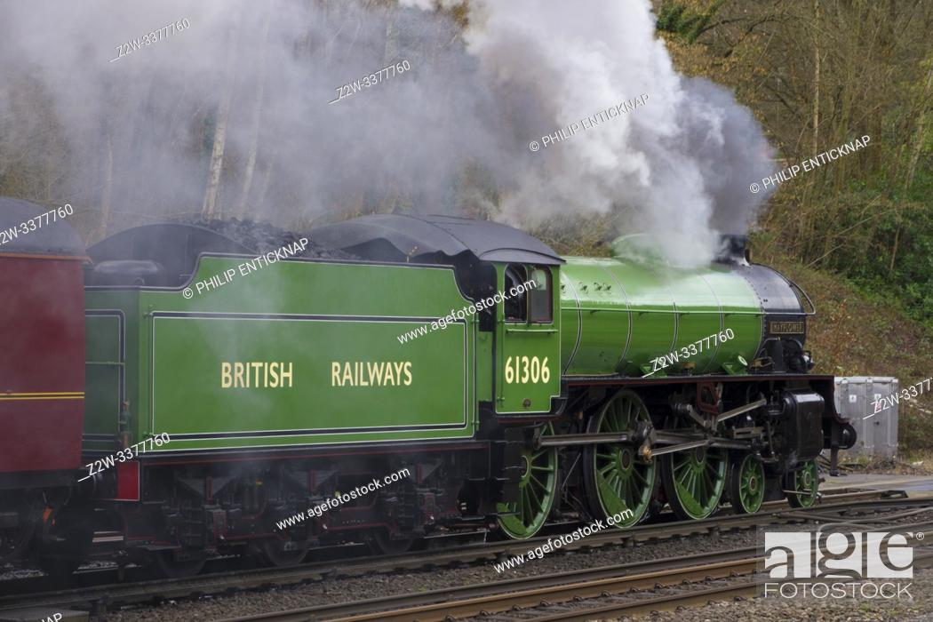 Stock Photo: B1 Class loco 61306 Mayflower heading off from Winchfield following a water stop with the Steam Dreams Victoria to Bath & Bristol tour on the 7th March 2019.