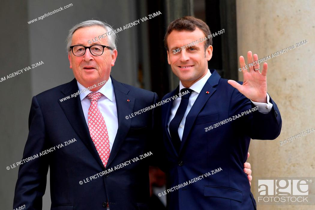 Stock Photo: May 10, 2019 - Paris, Ile-de-France (region, France - The President of the French Republic, Emmanuel Macron receives the President of the European Commission.