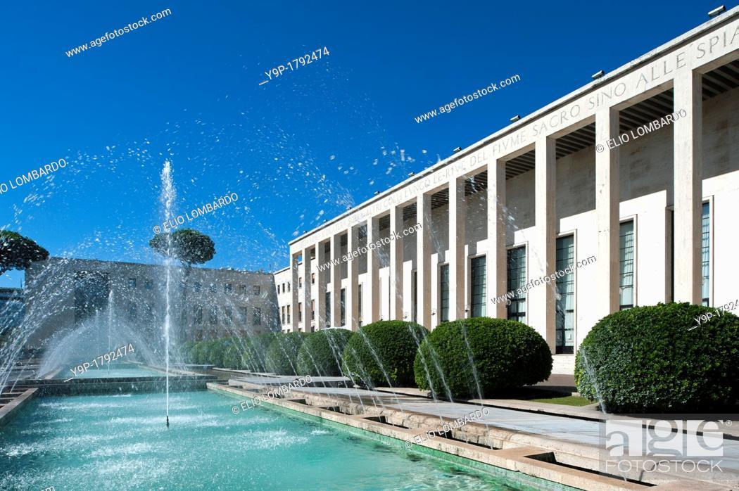 Stock Photo: Palazzo degli Uffici, Salone delle Fontane, designed by Gaetano Minnucci  Eur district  Rome, Italy.