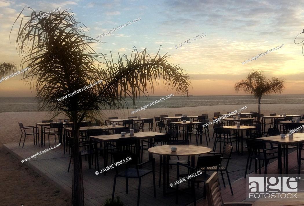 Stock Photo: Sunset. Beach terrace. Maresme, Barcelona province, Catalonia, Spain.