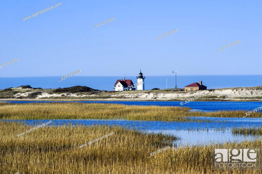 Stock Photo: Race Point lighthouse, Provincetown, Cape Cod, Massachusetts, USA.