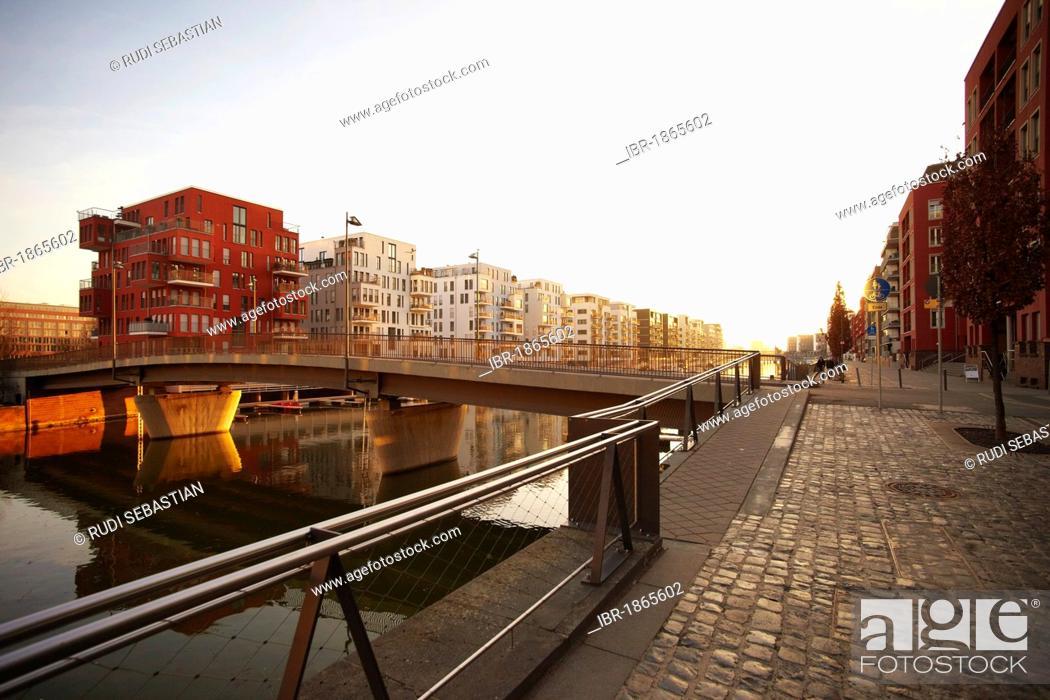 Stock Photo: Westhafen port, Frankfurt, Hesse, Germany, Europe.