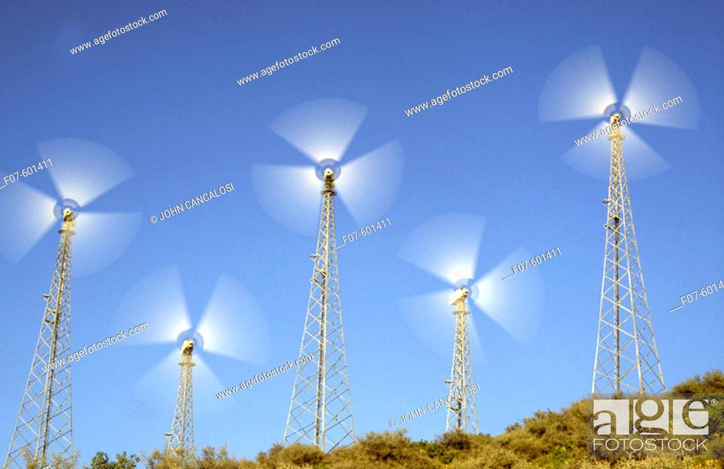 Stock Photo: Wind Generators. Near Tarifa Spain.