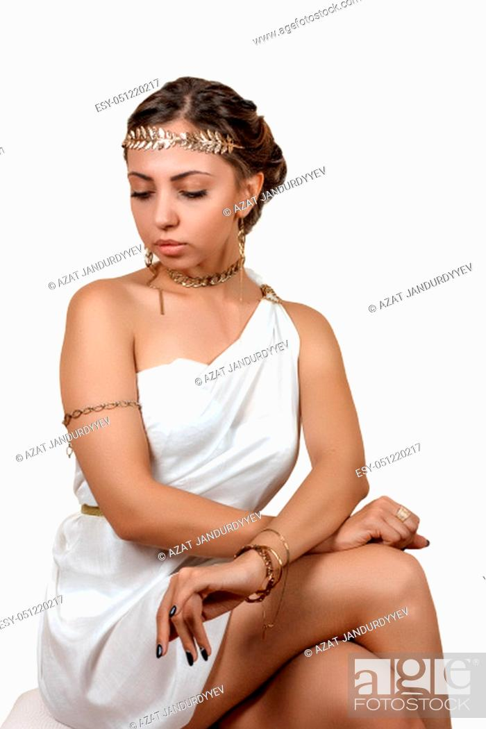 Stock Photo: wooman in greek style clothes on isolated background.
