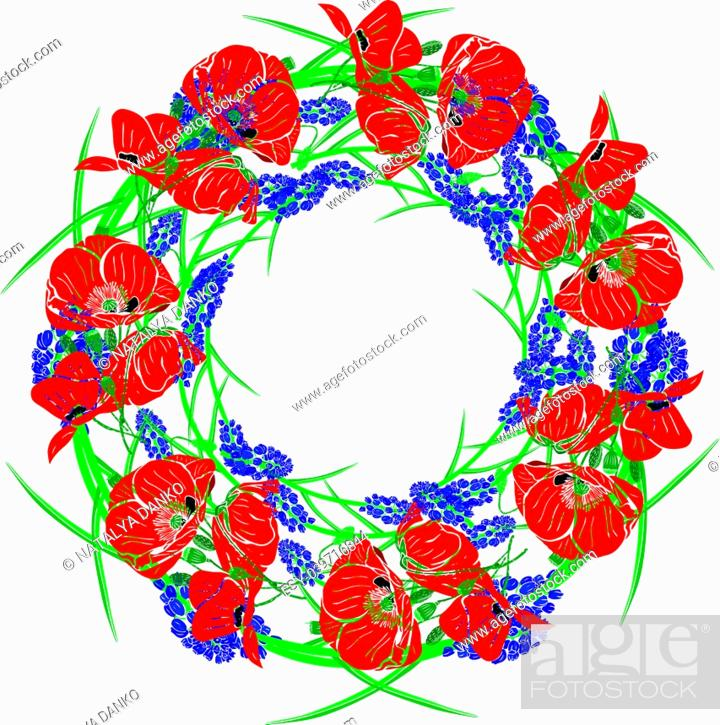 Stock Vector: wreath of red blossoming poppies, green unblown buds and blue hyacinths isolated against a white background.