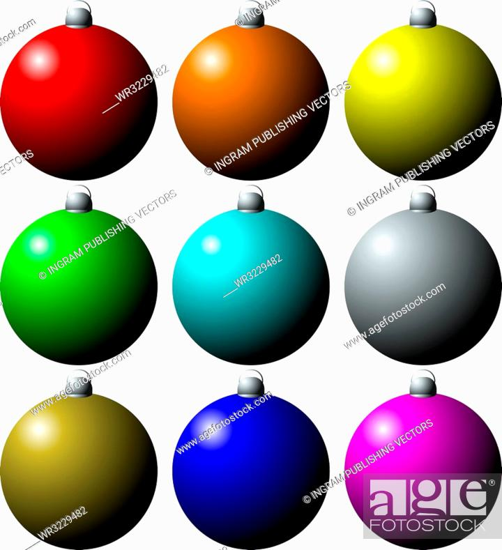 Vector: colorful collection of christmas decorations in nine different colors.