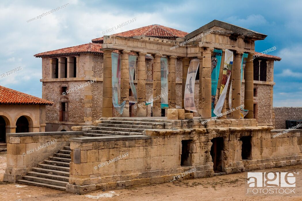 Stock Photo: Greek temple ruins in the courtyard of Hospital Caroline, Frioul Islands, near Marseille.
