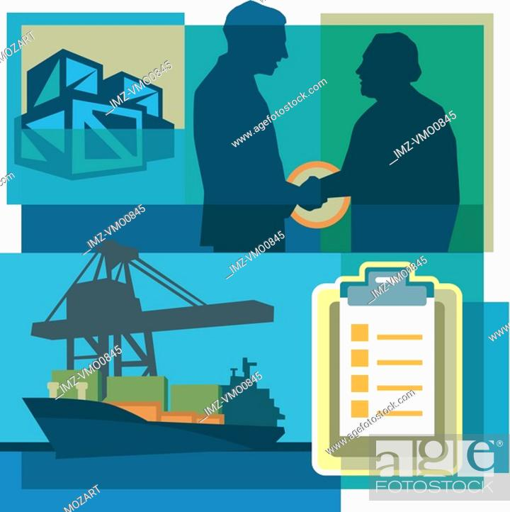 Stock Photo: A montage of two men shaking hands, crates, shipping documents, and a freighter.