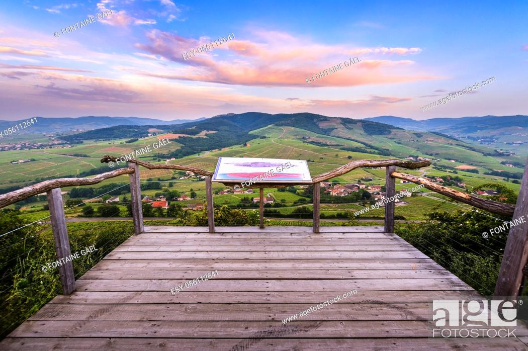 Stock Photo: Viewpoint ot Mont Brouilly, Beaujolais, France.