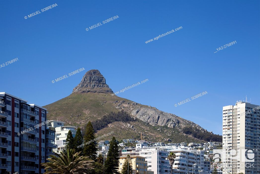 Stock Photo: Buildings Along Sea Point Promenade with Lions Head Behind - Cape Town - South Africa.