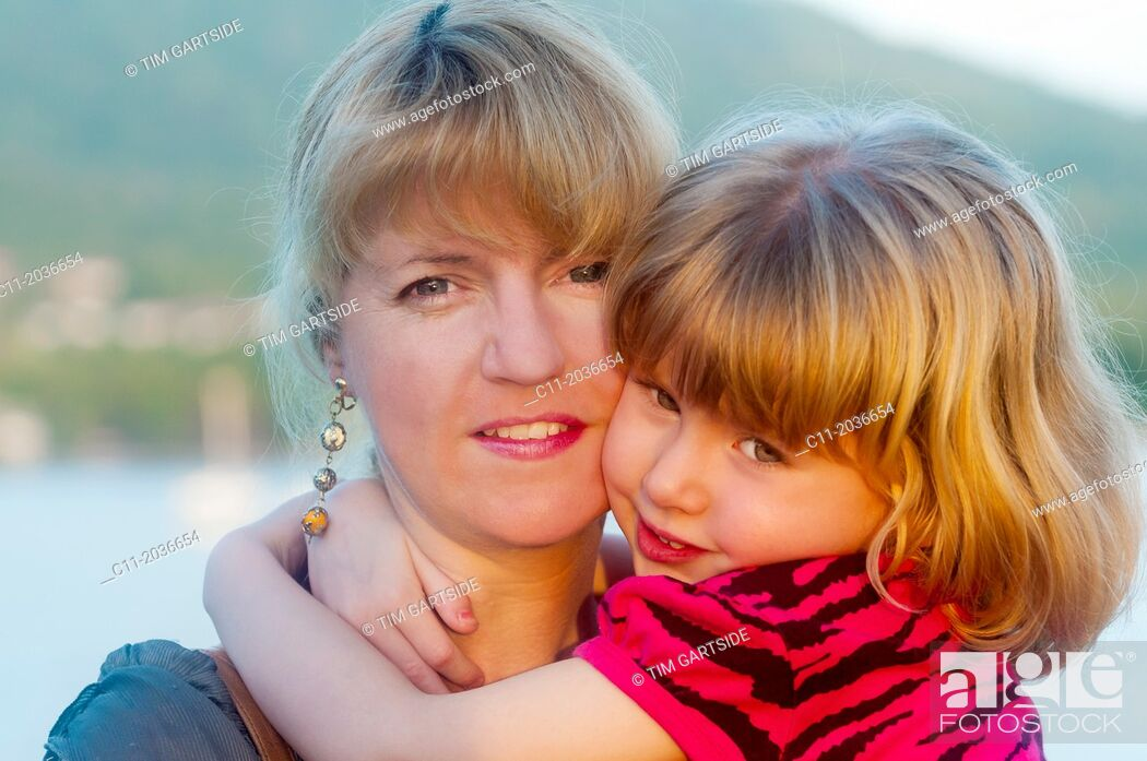 Stock Photo: mother and daughter on cruise ship, Portsmouth, Dominica; Caribbean: cabrits national park;.