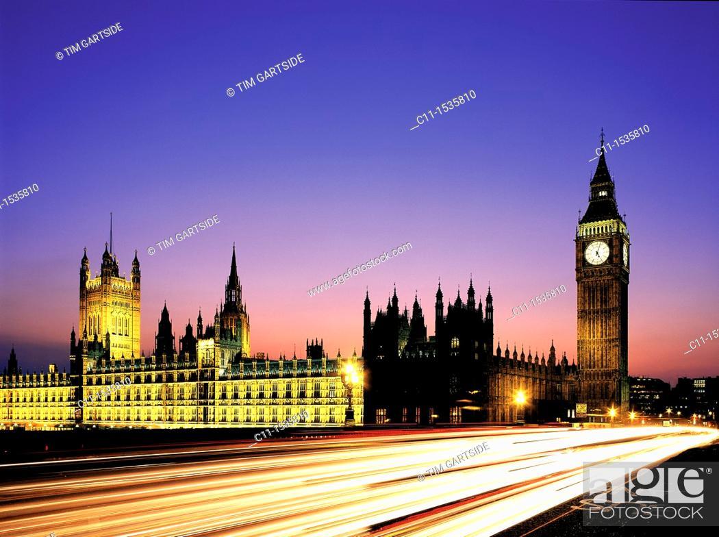 Stock Photo: big ben westminster houses of parliament night london england uk night,.