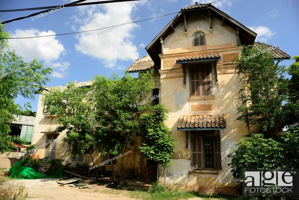 Typic Colonial House In Center Of Vientiane Laos Stock Photo