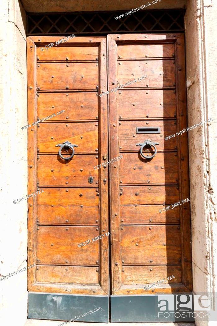 Stock Photo: old vintage wooden door.