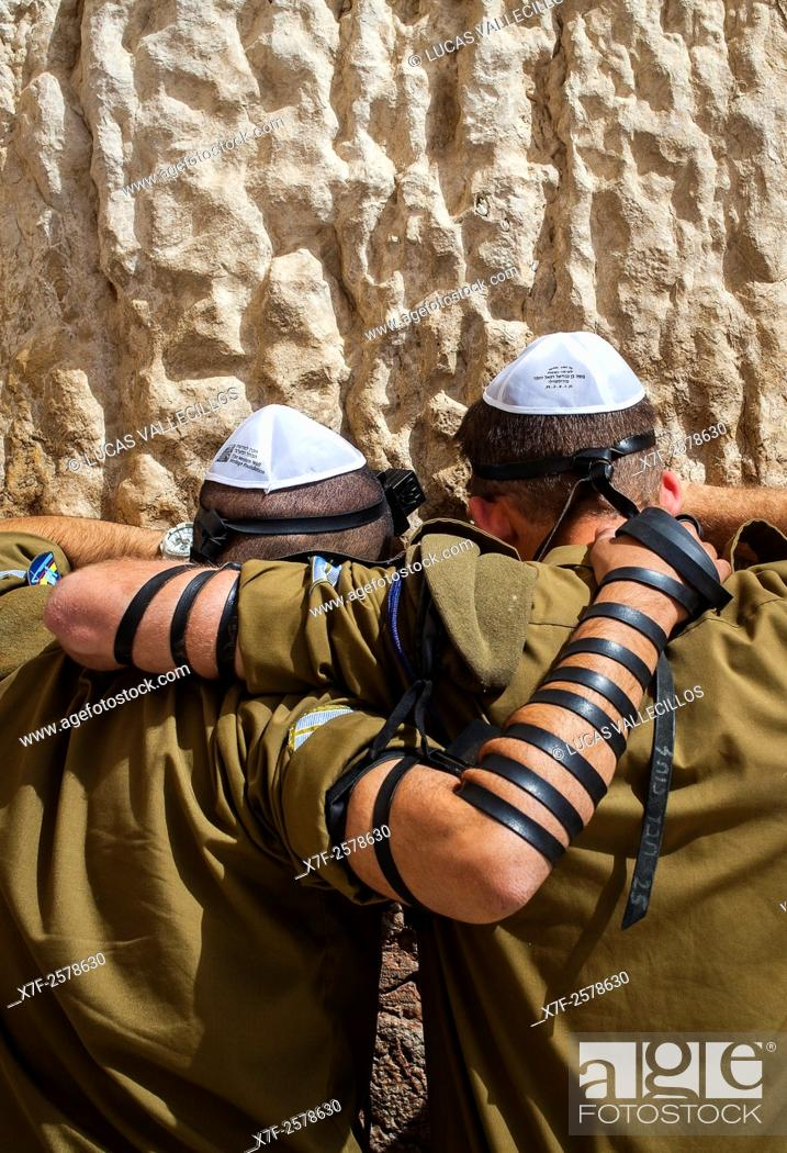 Stock Photo: men's prayer area, soldiers praying at the Western Wall, Wailing Wall, Jewish Quarter, Old City, Jerusalem, Israel.