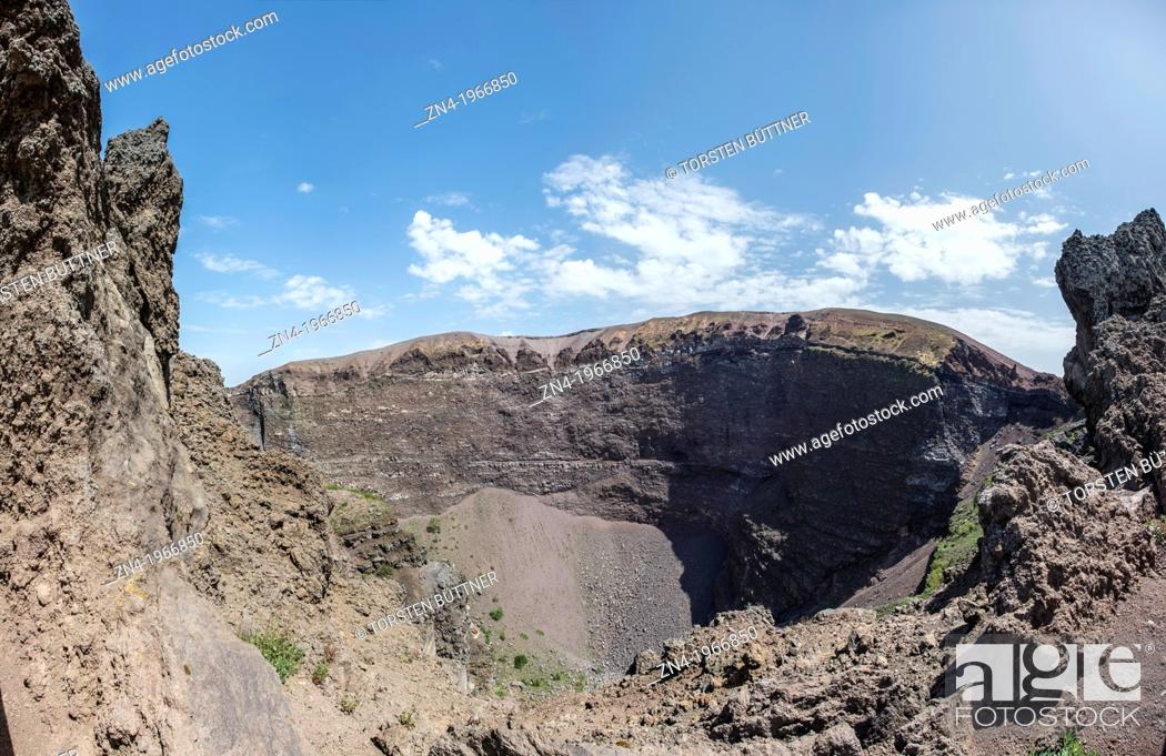 Stock Photo: Crater of Mount Vesuvius in Mount Vesuvius National Park, Campania, Italy.