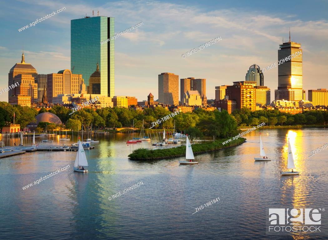 Stock Photo: Boston and the Charles River as seen from Longfellow Bridge  Boston is the capital of and largest city in Massachusetts, and is one of the oldest cities in the.
