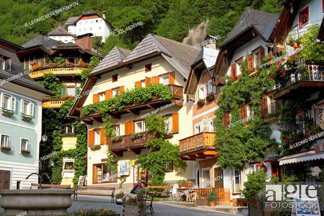 Stock Photo: Houses around the market square  Hallstatt village, Salzkammergut, Austria.