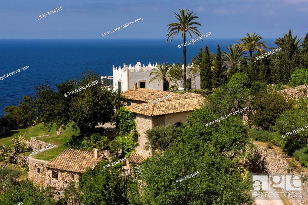 Stock Photo: finca S' Estaca -propiedad del actor Michael Douglas-,Valldemossa, Parque natural de la Sierra de Tramuntana, Majorca, Balearic Islands, Spain.