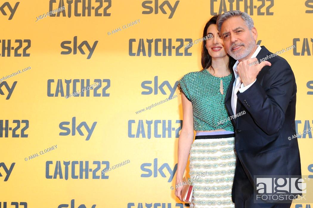 Stock Photo: American actor George Clooney and his wife, Lebanese lawyer Amal Clooney attend the premiere of the Sky TV serie Catch-22.