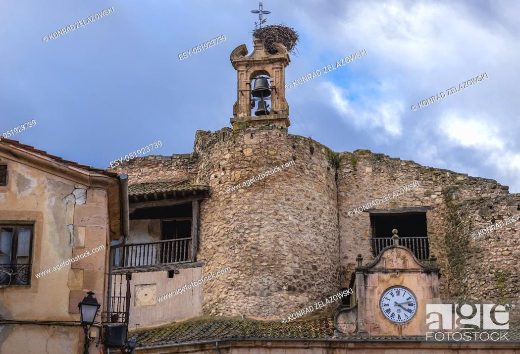 Stock Photo: Balls on a former castle on the main square of Sepulveda town in Province of Segovia, Castile and Leon autonomous community in Spain.