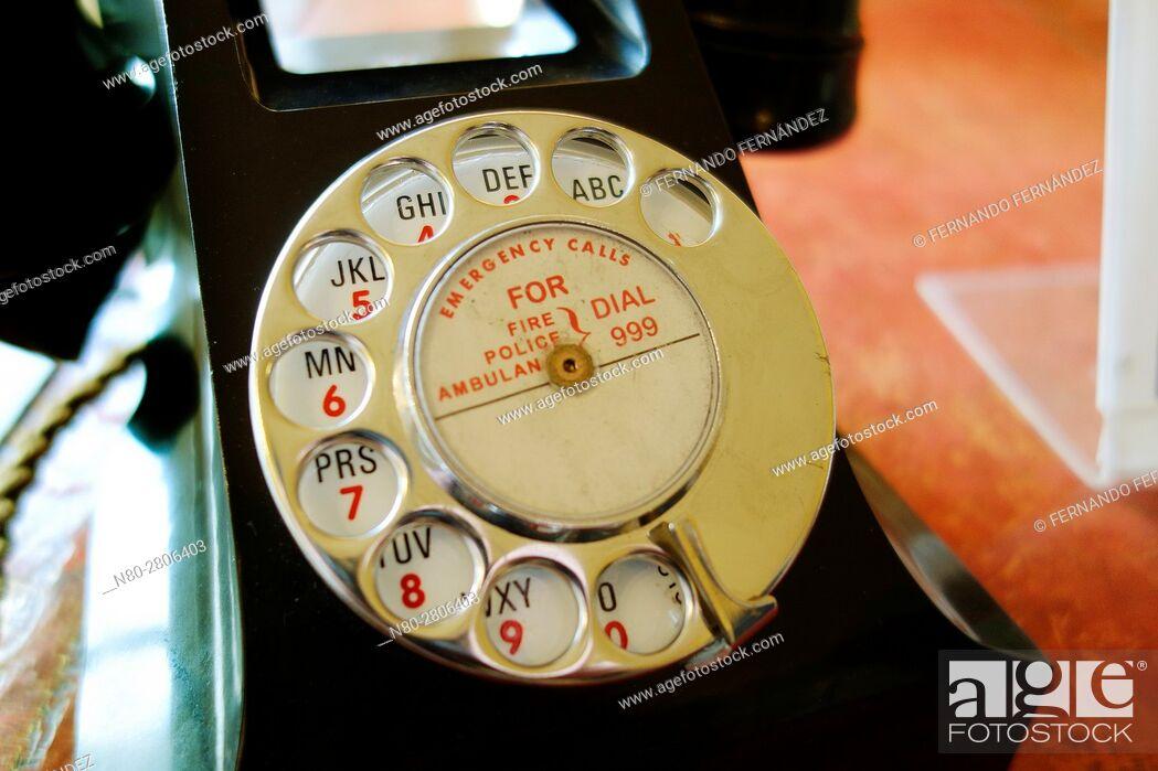 Stock Photo: Old vintage telephone. Basildon Park. Country house. Berkshire. England.
