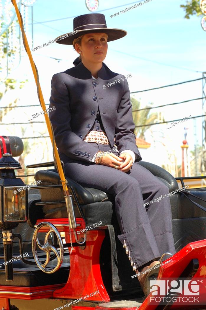 Imagen: Coachwoman , Feria de Caballo , Jerez de la Frontera , Cadiz , Andalusia , Spain , Europe.