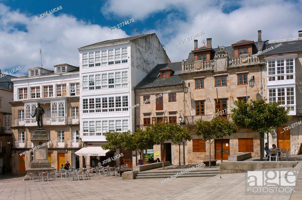 Stock Photo: Main square and town hall, Viveiro, Lugo province, Region of Galicia, Spain, Europe.