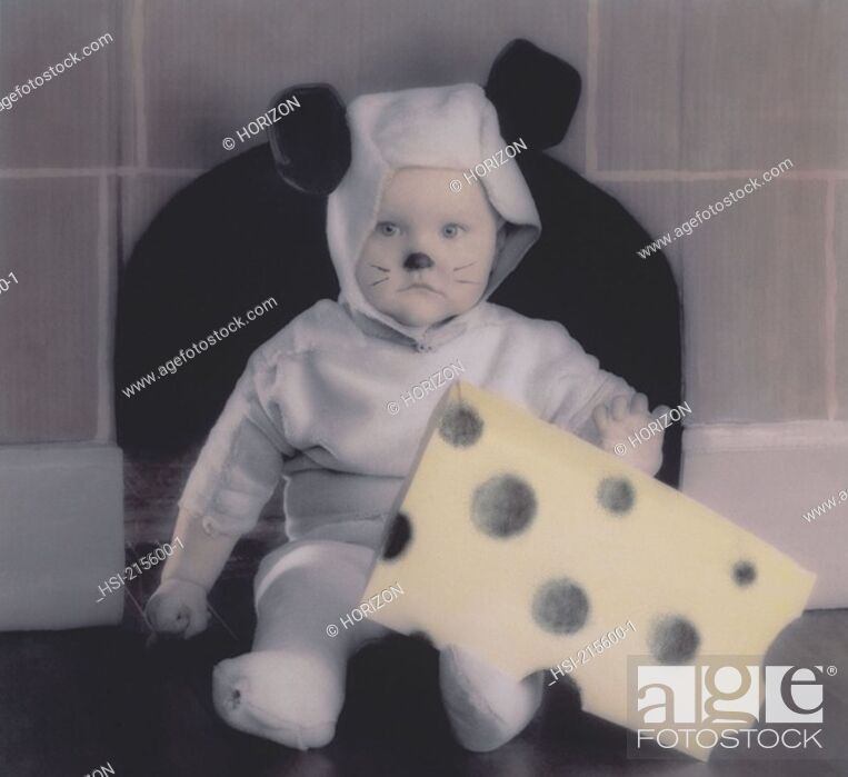 Stock Photo: Lifestyle, Children, Baby, Toddler, Fancy dress, Mouse costume, Hand- tinted image,.