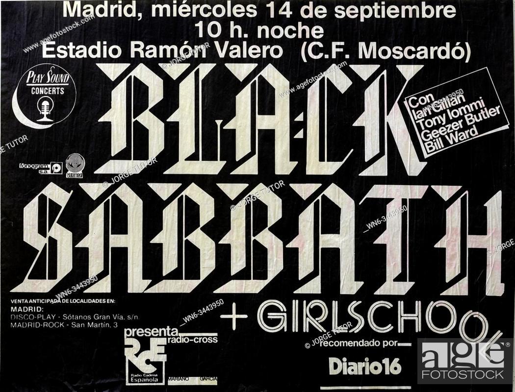 Imagen: Black Sabbath Madrid tour 1983, Musical concert poster.