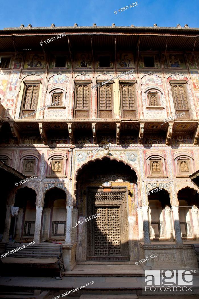 Imagen: India, Rajasthan, Nawalgarh, local haveli.