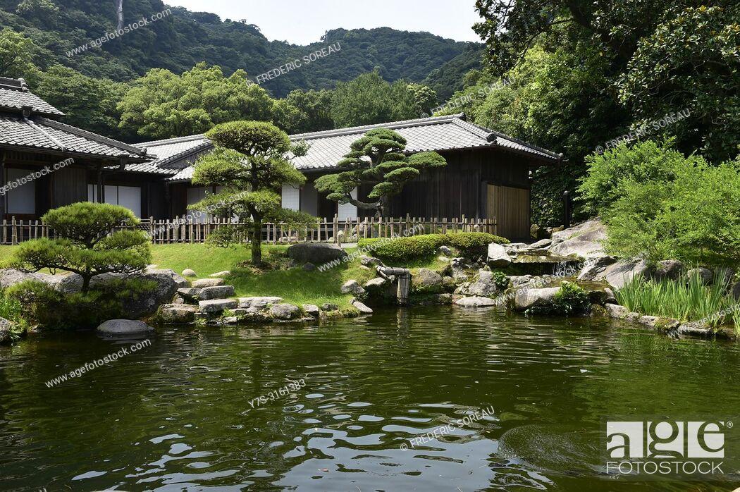 Stock Photo: The house of Shimadzu family in a traditional japanese garden of Sengan-en, unesco world heritage, Kagoshima, Kyushu island, Japan, Asia.