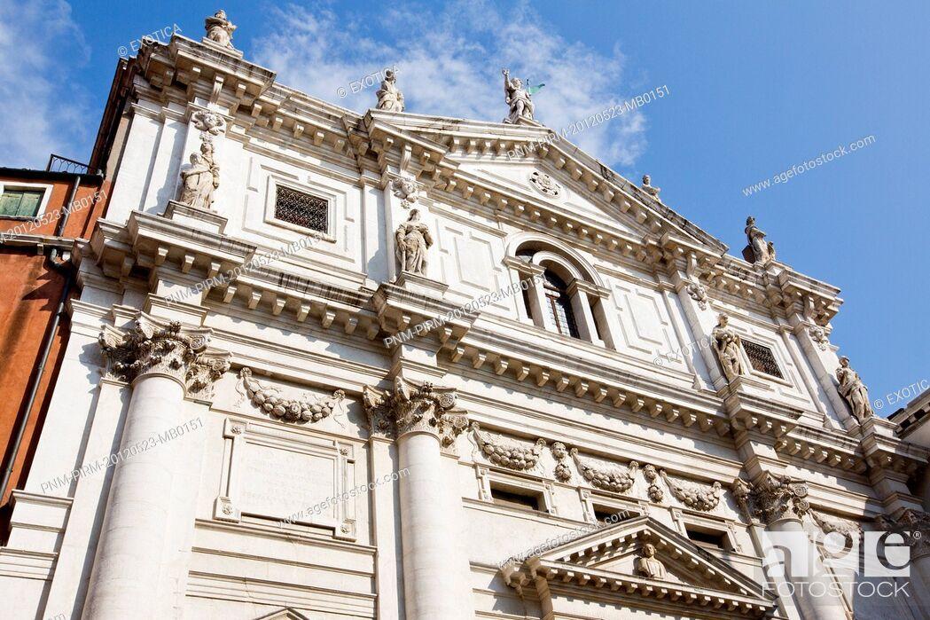 Stock Photo: Facade of a church, Venice, Veneto, Italy.