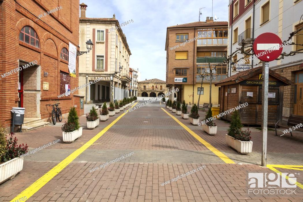 Stock Photo: Empty streets due to the Coronavirus in Salas de los Infantes, Burgos (Spain).