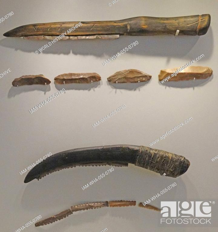 Collection of agricultural tools featuring sickles, sickle