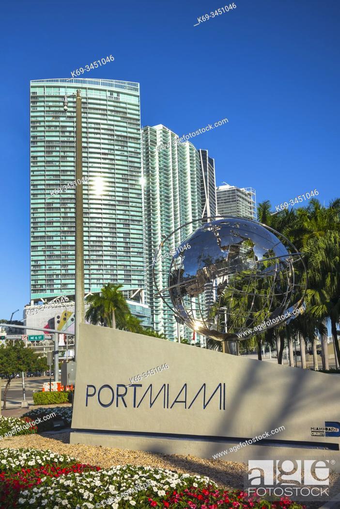 Stock Photo: Port of Miami Entrance Sign. Downtown. Miami. Florida. USA.