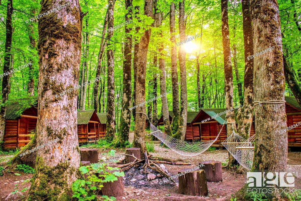 Stock Photo: Sunrise in camping of Biogradska Gora National Park, Montenegro.