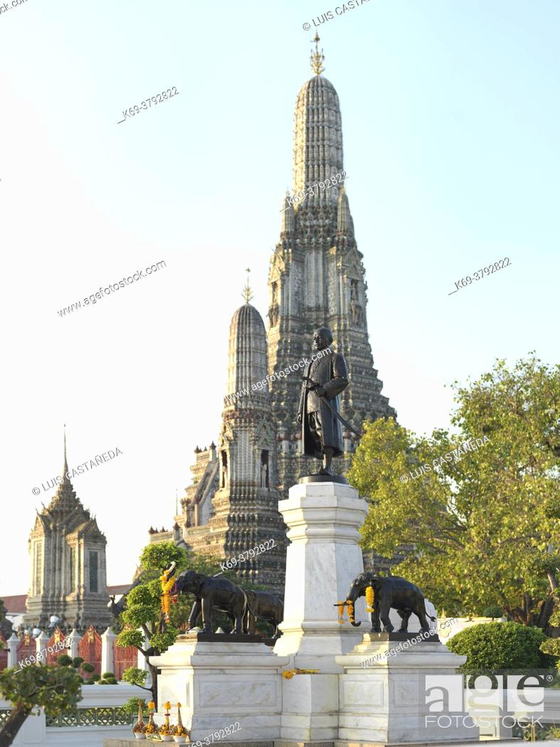 """Stock Photo: King Rama II Monument at Wat Arun. Bangkok. Thailand. Rama II (24 February 1767 â. """" 21 July 1824), was the second monarch of Siam under the House of Chakri."""