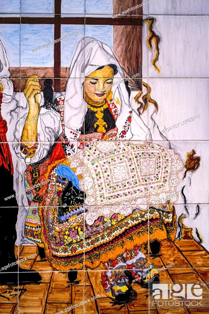 Stock Photo: Lagartera embroidery tiles, LAGARTERA, TOLEDO province, CASTILLA-LA MANCHA, SPAIN, EUROPE.