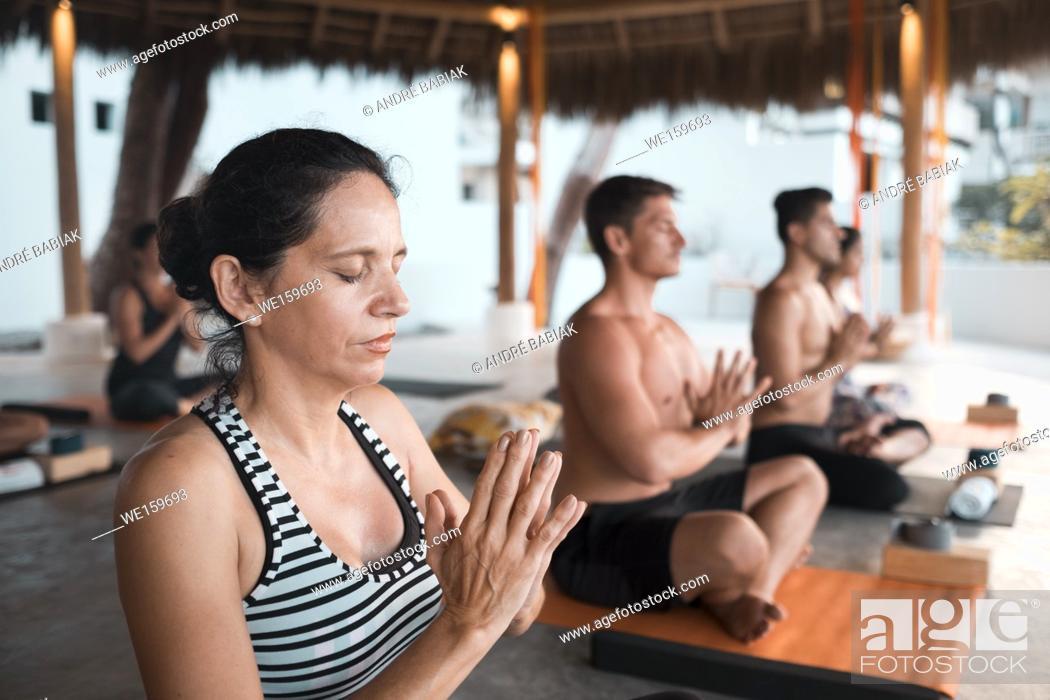 Stock Photo: Yoga group retreat Puerto Vallarta - Mismaloya, Mexico.